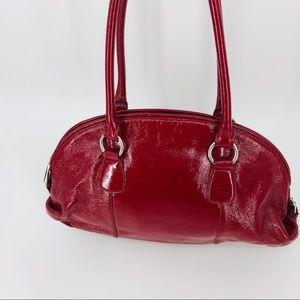 HOBO International Red Patent Leather Shoulder Bag
